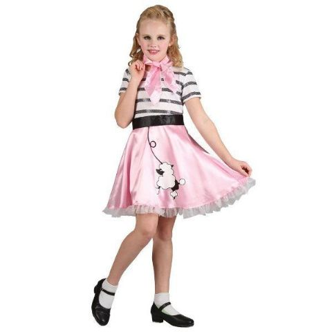 Girls 50'S Rock And Roll Bopper Girl Costume (Age 5 - 7)